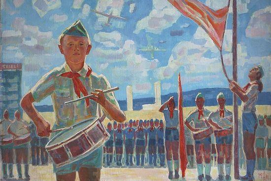 Пионерская линейка. Художник: Михаил Аникеев, 1947 г.