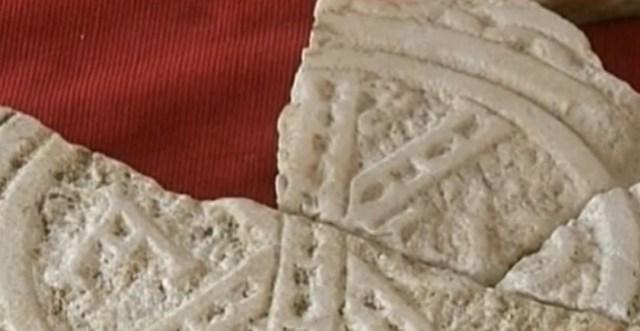 The Early Christian christogram, a monogram of Christ, found in fragments in Bulgaria's Sandanski. Photo: TV grab from BNT