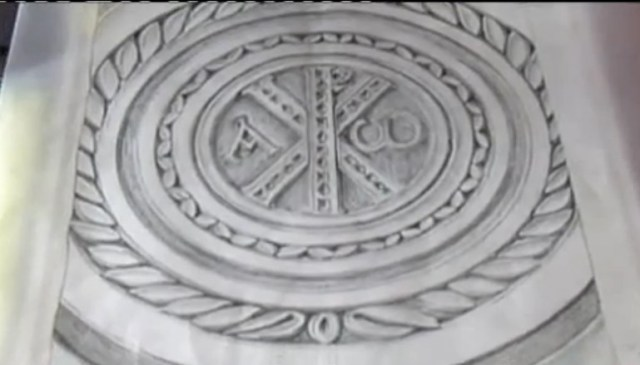 A drawing of the 6th century AD christogram discovered in the Bishopr's Basilica in ancient Parthicopolis in Bulgaria's Sandanski. Photo: TV grab from BNT
