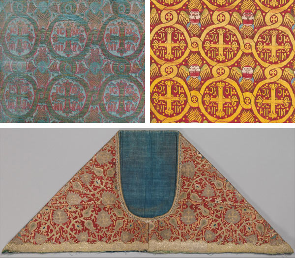 Top left: Silk textile with seraphim and crosses, 16th–17th century. Turkey, Istanbul or Bursa. Islamic. Silk and metal-wrapped threads; lampas weave; H. 21 1/8 in. (53.7 cm), W. 24 5/8 in. (62.5 cm). The Metropolitan Museum of Art, New York, Rogers Fund, 1917 (17.22.2a–d). Top right: Silk textile with seraphim and crosses, 17th century. Ottoman Empire. Silk, lampas weave (ground in satin, pattern in twill); 43 x 22 1/2 in. (109.2 x 57.2 cm). The Metropolitan Museum of Art, New York, Rogers Fund, 1908 (08.109.16). Bottom: Yoke of a chasuble (phelonion), 17th century. Russia. Silk; embroidered in silk and metal thread with (later) metallic trim; H. 13 1/4 in. (33.7 cm), W. 32 1/4 in. (81.9 cm), D. 2 in. (with insert). The Metropolitan Museum of Art, New York, Rogers Fund, 1917 (17.157)