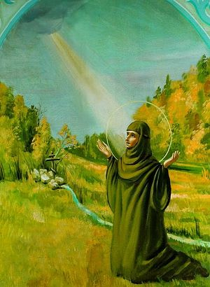 Моление блж. Евфросинии на источнике. Роспись ц. Казанской иконы Божией Матери в Колюпановском монастыре