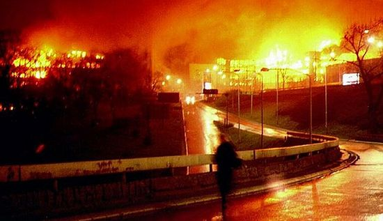 The bombing of Belgrade in 1999.