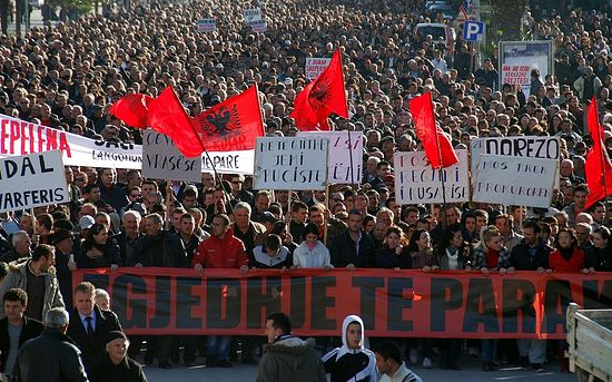 Demonstration by Albanians in Macedonia