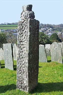 One of ancient crosses in St Neot churchyard, Cornwall