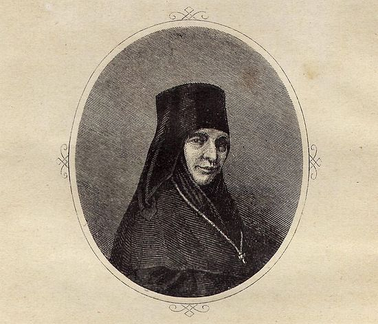 Портрет игумении Марии (Тучковой) с автографом. Гравюра на стали с неизвестного оригинала