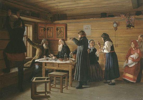 Спор о вере. Художник: Д.Е. Жуков (1841–1903). 1867 г.