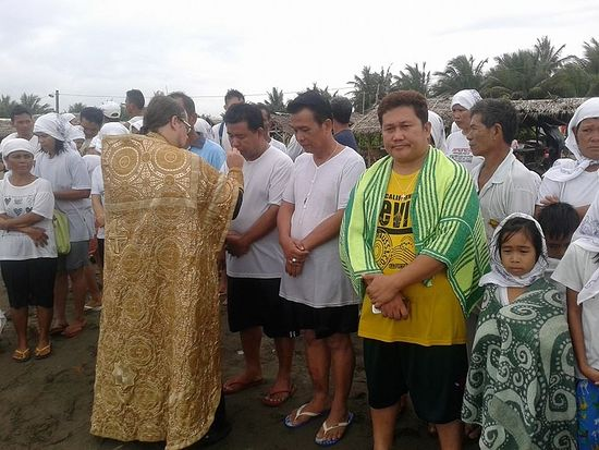 Крещение на берегу Тихого океана