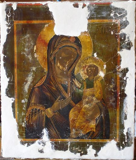 Иверская икона Божией Матери. Икона до реставрации