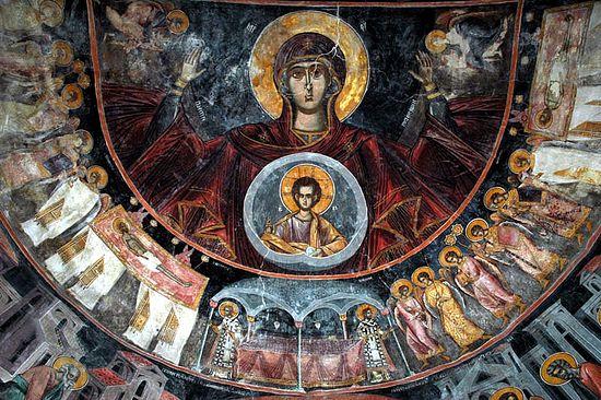 Богоматерь «Оранта». Фреска. Монастырь Пива, Черногория