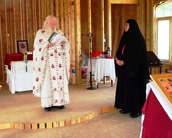Fr. Ambrose and Mother Theadlephi at the Entrance of the Theotokos Skete