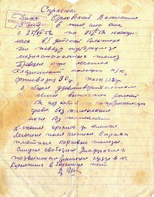 Справка о пребывании В.Г. Орловской в детской больнице