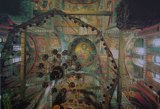 Stavronikita Monastery, Mount Athos, showing the eight sided choros and the single chained chandelier which are swung at key points in the worship.