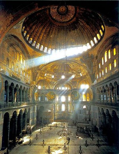 Agia Sophia interior, showing the play of light created by skillfully placed and sized windows.
