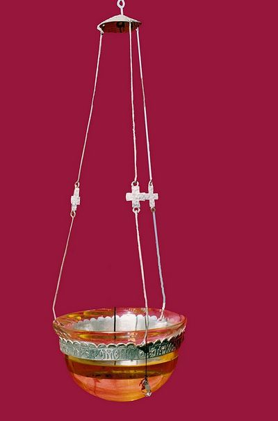 Contemporary silver lamp, Iviron monastery, Mount Athos, made by the author. The design was inspired by the illustrated Byzantine lamp.