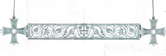 Design for choros, Belgium, by the author, the motifs adapted from old indigenous designs.