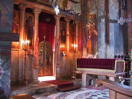 Decani Monastery, Serbia, showing how emphasis can be gained by decreasing ambient light rather than increasing local light.