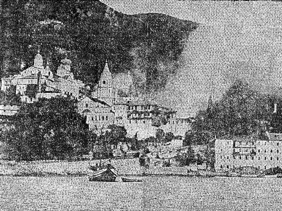 188. Пожар в Свято-Пантелеимоновом монастыре. 1968 г. Горят «Царские покои» (23)