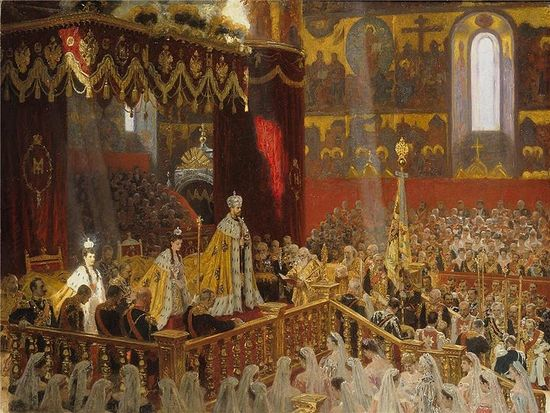 Laurits Tuxen's 1898 Coronation Portrait of Nicholas II and Alexandra Feodorovna.