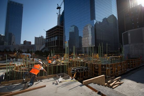Construction was underway on the St. Nicholas National Shrine at the World Trade Center in Lower Manhattan on Tuesday