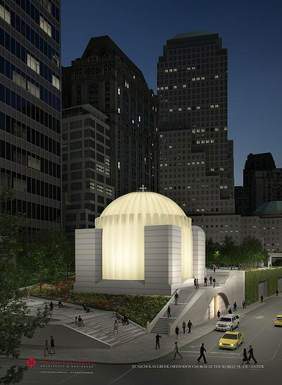 A rendering of the $35 million domed structure, which will glow at night through a veneer of white Pentelic marble, from the same vein in Greece that was quarried to construct the Parthenon.