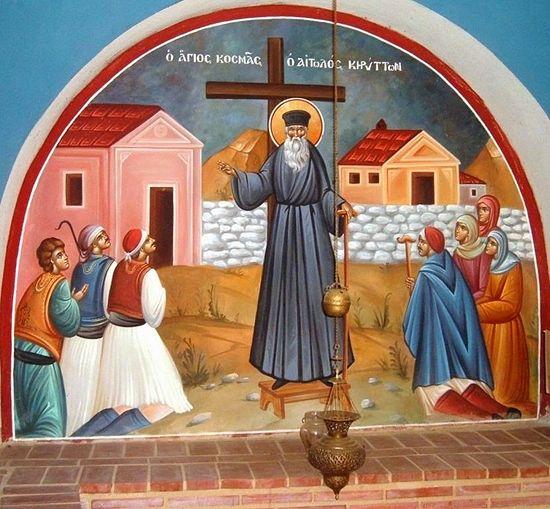Свети Козма проповеда. Фреска