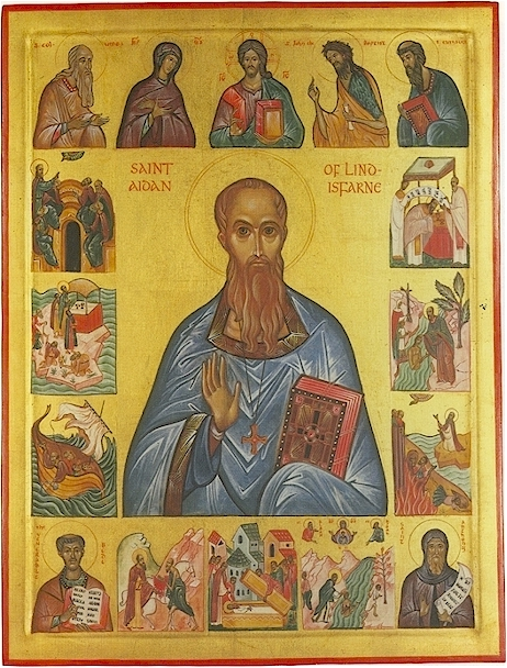 Icon of St. Aidan, with life.