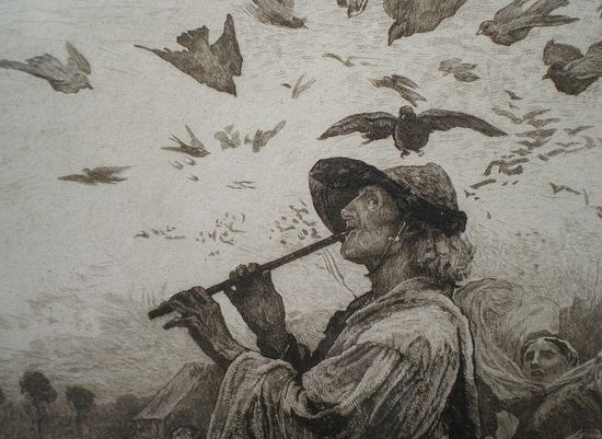 The Pied Piper of Hamelin. Fragment of an engraving produced from the painting by George Pinwell.