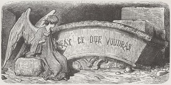 "Motto of Thélème Abbey: ""Do as thou wilt!"" Drawing by Gustave Dore."