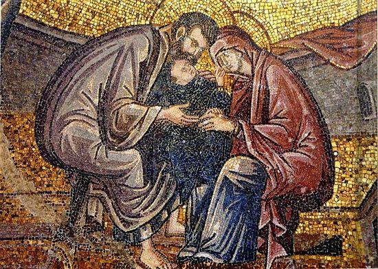 Рождество Пресвятой Богородицы. Ласкание Марии. Мозаика монастыря Хора в Константинополе, XIV в.