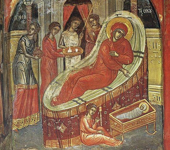 Рождество Пресвятой Богородицы. XVI в., монастырь Ставроникита, Афон Фреска работы Феофана Критского