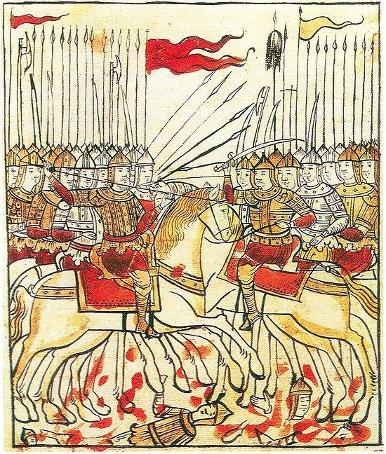 Миниатюра из рукописи «Сказание о Мамаевом побоище», XVII в.