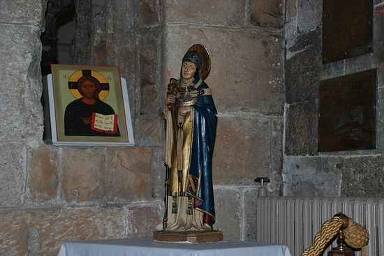 Statue of St. Deiniol inside Bangor Cathedral