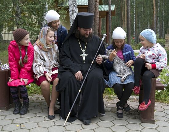 Archimandrite Pimen with children.