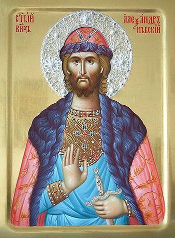 Сербская икона святого князя Александра Невского. Работа сестер монастыря Жича, 2015 г.
