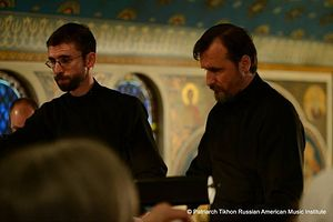 Benedict Sheehan and Maestro Vladimir Gorbik at St. Tikhon's Monastery
