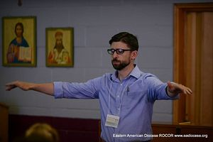 Benedict Sheehan directing during a Master Class at St. Tikhon's Monastery and Seminary