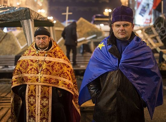 Greek Catholic priests at the Maidan uprisings in Kiev.