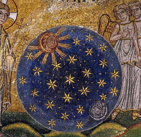 Creation of Celestial Bodies. (Creation of the World, fragment) St. Mark's Basilica, Venice, Italy. 13th century.