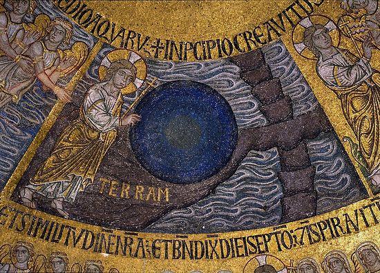 Создание тверди. (Сотворение мира, фрагмент). Италия, Венеция, Собор Святого Марка; XIII в
