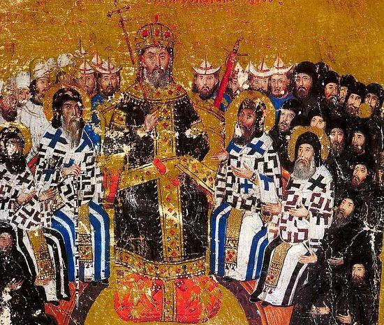 Император Иоанн VI в парадном облачении, на подножии изображены двуглавые орлы