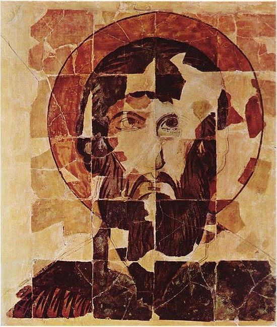 This picture shows the icon of St. Theodore Stratilates as it has been known since its discovery in the 1910s, before the latest addition of the previously unknown fragments and its latest restoration. Photo: Wikipedia