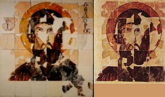 A comparison shows the difference between how Bulgaria's 10th century icon of St. Theodore Stratilates looks before (right) and after (left) its latest restoration with the addition of the newly found fragments. Photos: BNT, Wikipedia