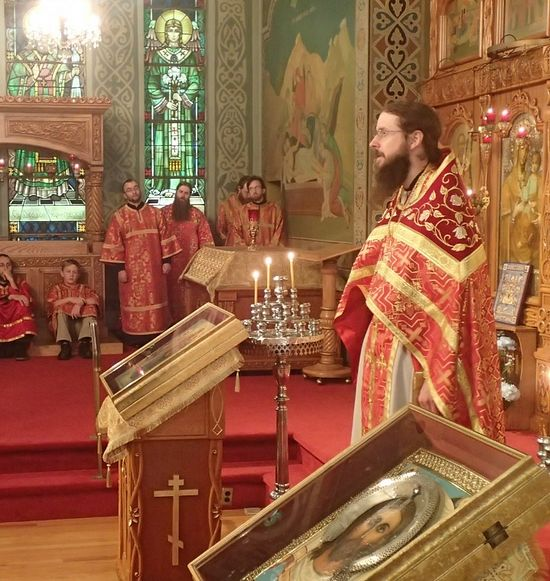 Schema-Archimandrite Sergius (Bowyer) delivering a homily at St. Tikhon's Monastery
