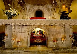 The relics of St. Nicholas are located underneath the altar