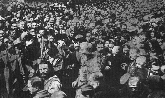 1923. The people coming out to meet Patriarch Tikhon, freed from prison.