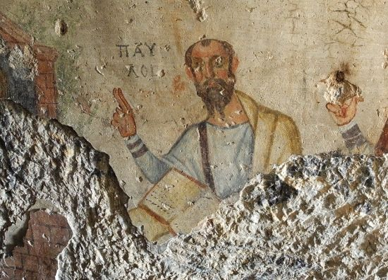 Apostle Paul. Fresco in the caves of Sts. Paul and Thecla.