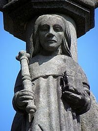 A sculpture of St. Melor in Locmelar, Brittany
