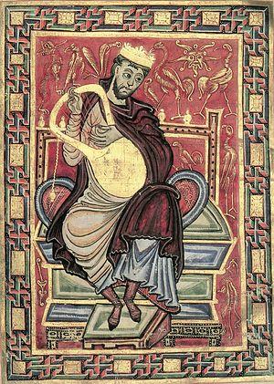 Царь Давид играет на лире. Миниатюра из Псалтири Эгберта, 980 г.