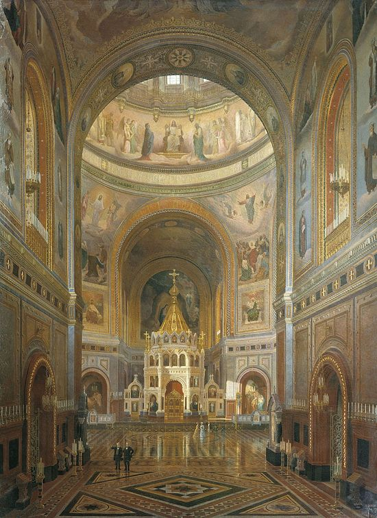 "Fyodor Klages (1812-90). ""Interior of the Cathedral of Christ Saviour in Moscow"" (1883). The cathedral before its destruction."