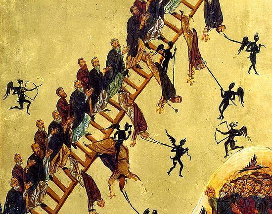 Демони искушавају подвижнике. Фрагмент иконе «Лествица». Синај, XII в.